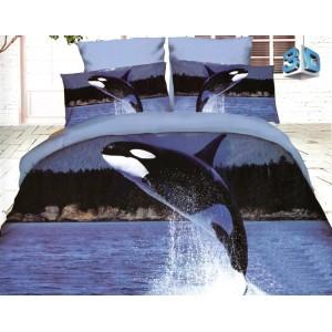 3D posteľné obliečky modré s kosatkou