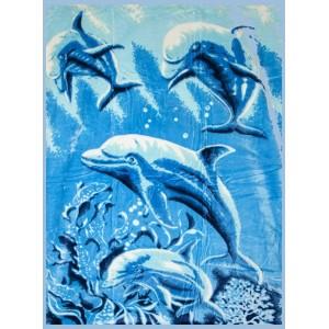 Teplá deka modrej farby s delfínmi