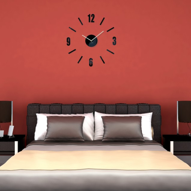 DomTextilu Ručičkové hodiny na stenu čierne 10717