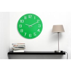 Zelené hodiny na stenu s tichým chodom