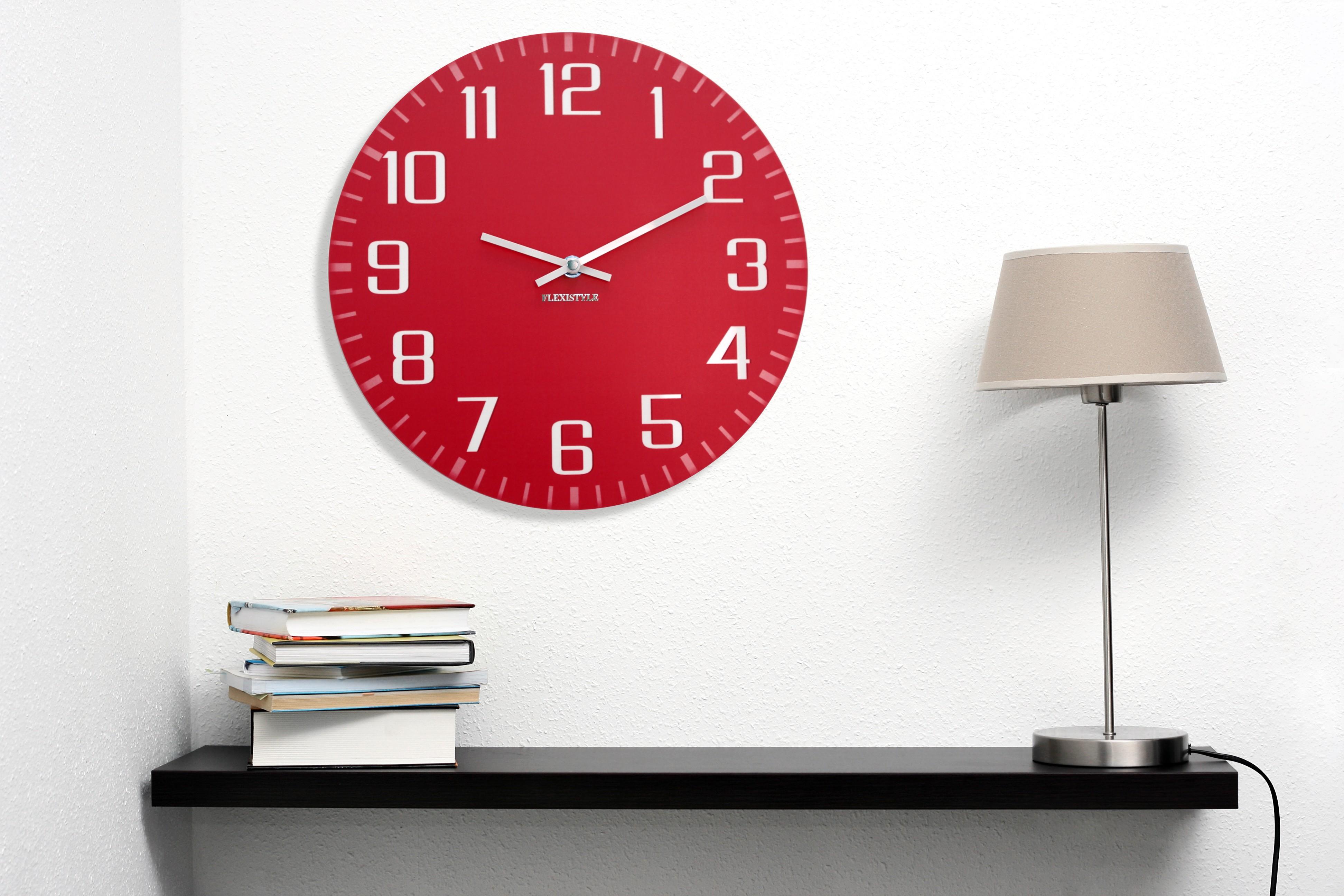 DomTextilu Dekoračné nástenné hodiny červené 10726
