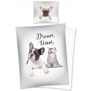 Biele obliečky pre deti s psíkom a mačičkou