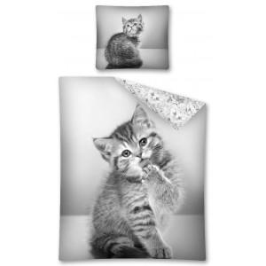 Detská posteľná bielizeň sivej farby s mačičkou