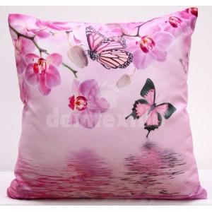 Ružové obliečky na vankúše s motýľmi a orchideami