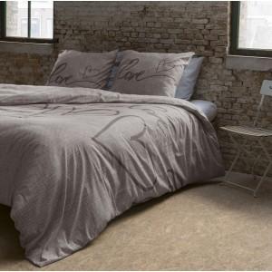 Hnedé obliečky na posteľ bavlnené s nápisom