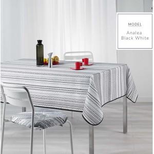 Obrusy na stôl s moderným bielo čiernym vzorom