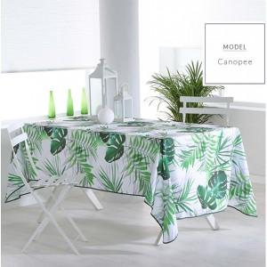 Zelený obrus na stôl s motívom listov