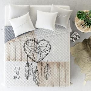 Prehoz na postel s motívom lapača snov