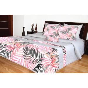 Prehoz na posteľ 220x240 sivo ružový