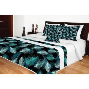 Biely prehoz na posteľ s čierno tyrkysovým vzorom