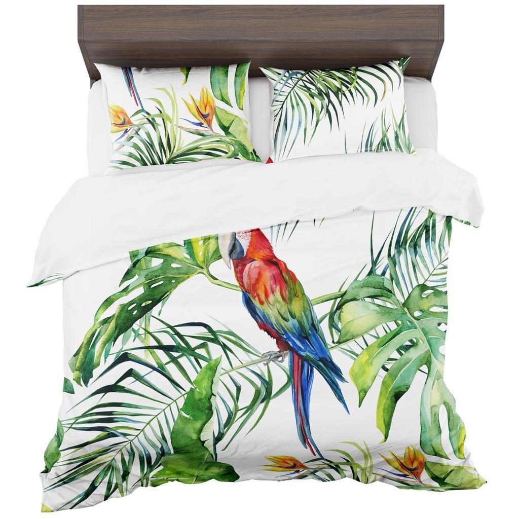 DomTextilu Detské obliečky s papagájmi 2 časti: 1ks 140 cmx200 + 1ks 70 cmx80 Biela 70 x 80 cm 11447-35934