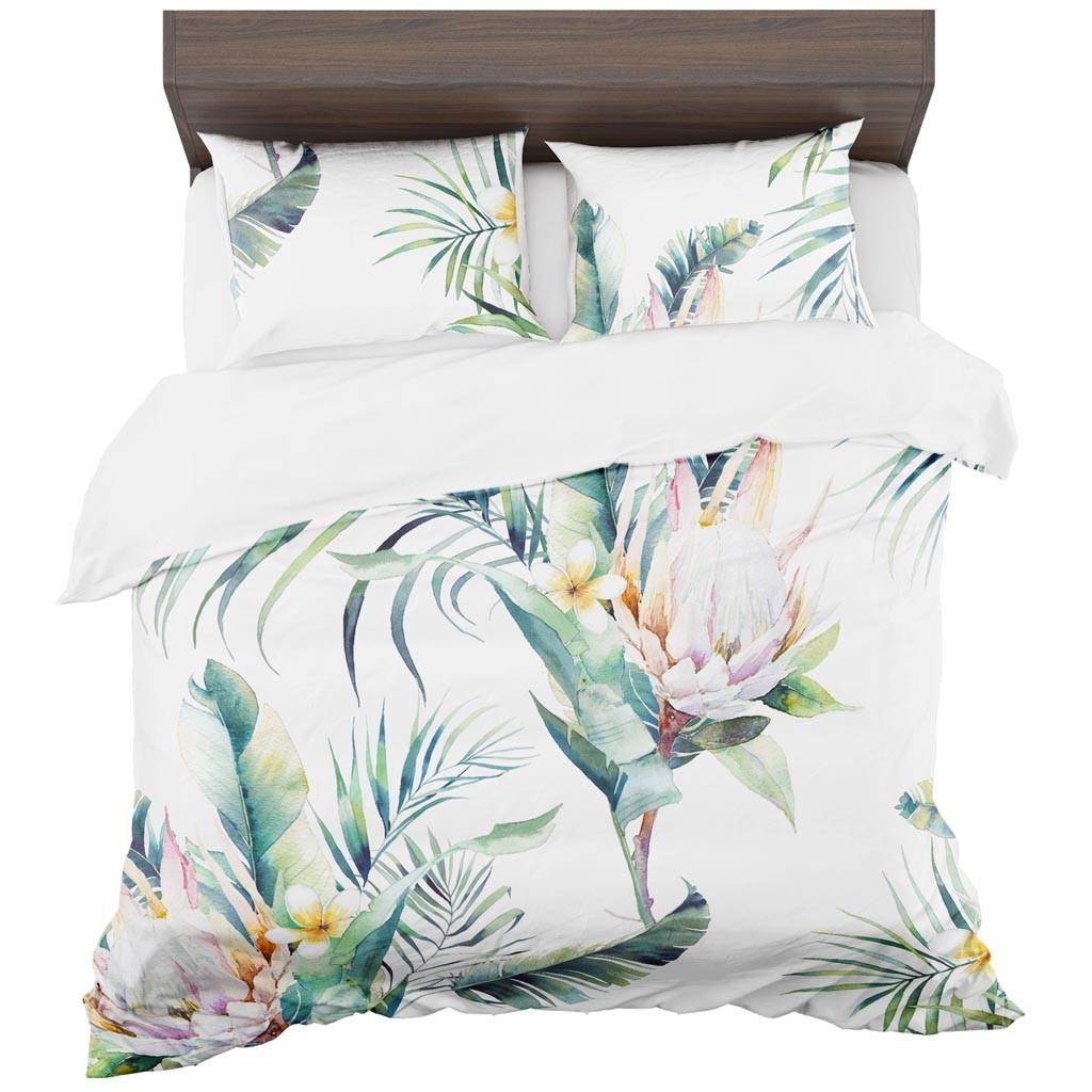 DomTextilu Posteľné prádlo v peknom kvetinovom motíve 2 časti: 1ks 140 cmx200 + 1ks 70 cmx80 Biela 11452-35944