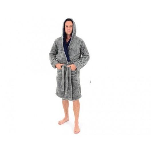 Pánske zavinovacie župany sivé s kapucňou