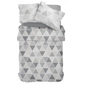 Sivé posteľné obliečky so vzorom triojuholníkov