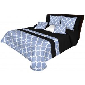 Luxusný prešívaný prehoz na posteľ s modrým vzorom