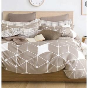 Sivo biele posteľné návliečky s geometrickým vzorom