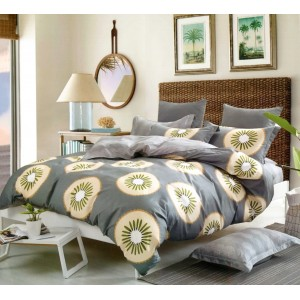 Sivé posteľné obliečky s motívom kiwi