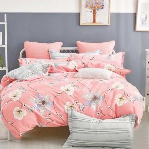 Lososové posteľné obliečky s kvetmi