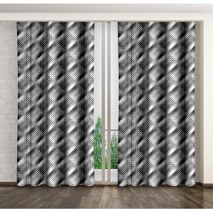 Vzorované hotové závesy sivej farby
