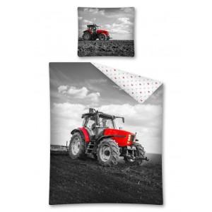 Bielo-čierna obliečka pre chlapcov s červeným traktorom
