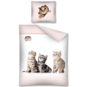 Posteľná návliečka pre dievčatá s tromi mačiatkami