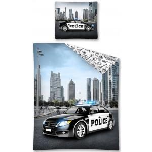 Chlapčenské moderné obliečky na posteľ s policajným autom