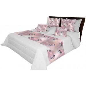 Prikrývka na posteľ sivej farby s motívom ruží