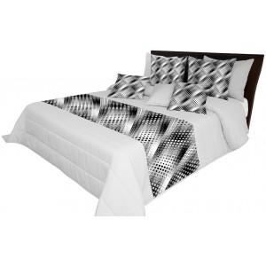 Vzorovaný prehoz na posteľ sivej farby