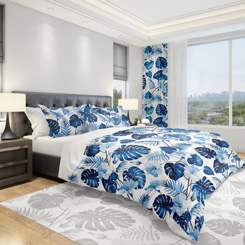 DomTextilu Jednoduché posteľné návliečky s modrými kvetmi 2 časti: 1ks 140 cmx200 + 1ks 70 cmx80 Biela 11826-35976