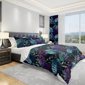 Čierna návliečka na posteľ s veľkými listami