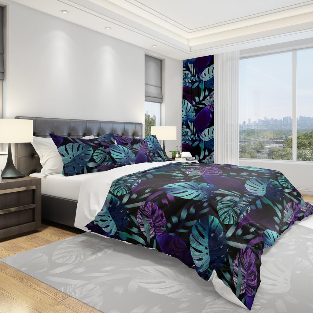 DomTextilu Čierna návliečka na posteľ s veľkými listami 2 časti: 1ks 140 cmx200 + 1ks 70 cmx80 11830-35980