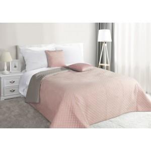 Ružový obojstranný prehoz na manželskú posteľ