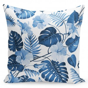 Jednoduchá návliečka na vankúš s modrými kvetmi a listami