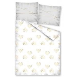 Romantická posteľná obliečka v bielej farbe so zlatými srdiečkami