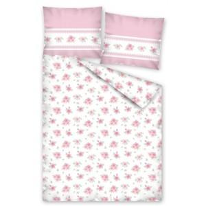 Biela posteľná obliečka pre zamilovaných s ružami