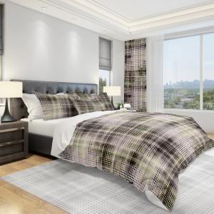 Moderná béžová posteľná obliečka v hnedým motívom