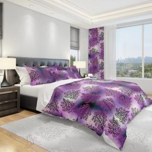 Moderná posteľná návliečka vo fialovej farbe v jemným ornamentom