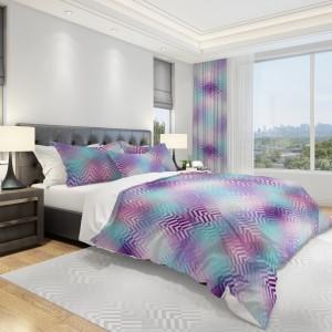 Luxusné obliečky na posteľ vo fialovo modrej farbe a ornamentmi
