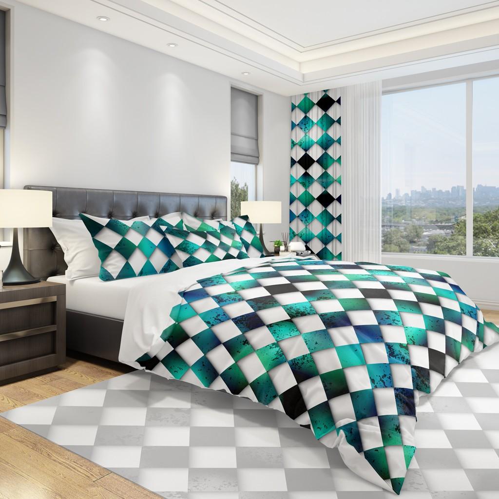 DomTextilu Originálna posteľná obliečka s bielo zelenou šachovnicou 2 časti: 1ks 140 cmx200 + 1ks 70 cmx80 11887-36000