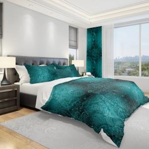 Zelené obliečky na posteľ s ornamentmi