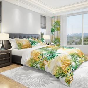 Posteľná obliečka v bielej farbe so žltými a zelenými palmovými listami