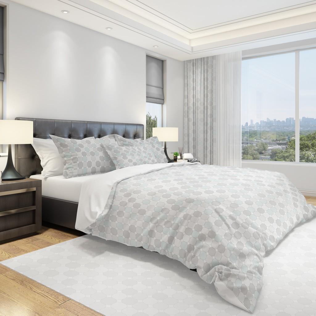 DomTextilu Štýlová vzorovaná návliečka na posteľ v sivej farbe 2 časti: 1ks 140 cmx200 + 1ks 70 cmx80 11894-36012