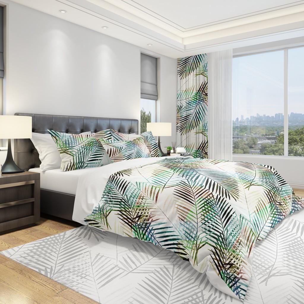 DomTextilu Biela obliečka do spálne s palmovými listami 2 časti: 1ks 140 cmx200 + 1ks 70 cmx80 11895-36014