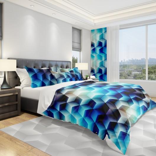 Štýlová posteľná obliečka v modrej farbe s motívom kociek