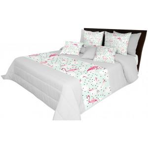 Sivé posteľné prikrývky s motívom plameniaka