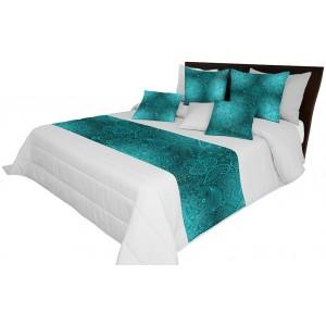 Luxusný prehoz na manželskú posteľ s tyrkysovým vzorom