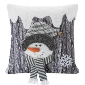 Sivá dekoračná obliečka na vankúšik so snehuliačikom
