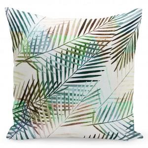 Biela kvalitná návliečka s farebnými palmovými listami a rozmerom 40x40