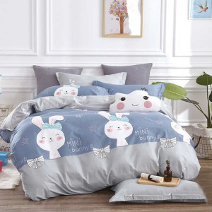 Moderná posteľná návliečka pre deti v modrej farbe MINI BUNNY