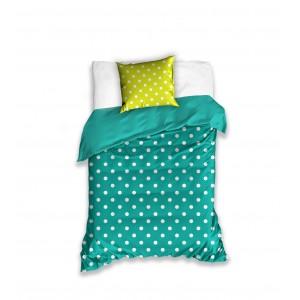 Posteľná obliečka do detskej izby v zelenej farbe a bielymi bodkami